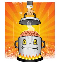 Kettle brains cartoon character vector
