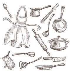Kitchenware and apron cooking tools saucepan and vector