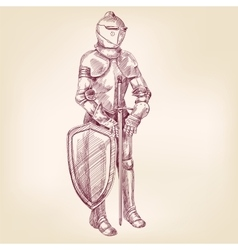 knight vintage hand drawn llustration vector image