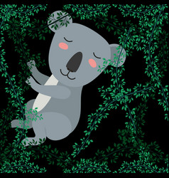 Koala in the forest scene vector