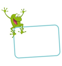 Label - joyful frog on frame vector