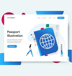 Landing page template with passport concept vector