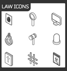 law outline isometric icons vector image