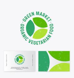 logo green organic market three green leaves vector image