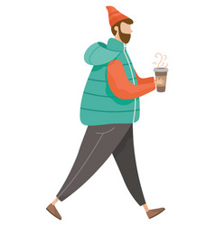 man walking alone hipster with hot drink coffee vector image
