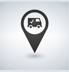 map pointer with truck icon sign pictogram vector image