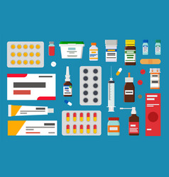 Medicaments in form of pills liquids or ointment vector