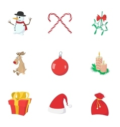 New year holiday icons set cartoon style vector