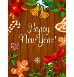 New Year poster on wooden background vector