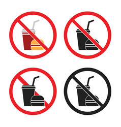 no food or drink area sign no fast food icons vector image
