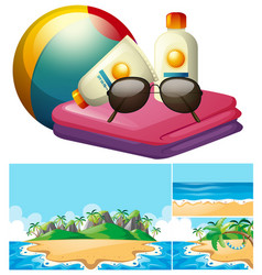ocean scene and summer accessories vector image