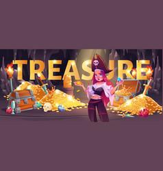 Pirate girl in treasure cave cartoon banner loot vector