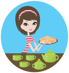 Pretty girl with cookies vector