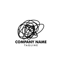 Psychotherapy with tangled thread logo template vector