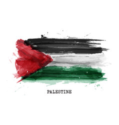 Realistic watercolor painting flag palestine vector