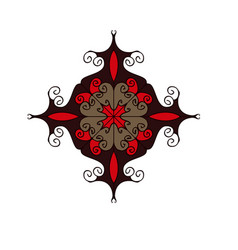 Red and brown flourish circular ornament vector