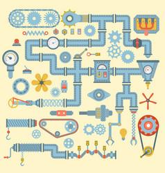 Robotic machinery parts flat icons set vector