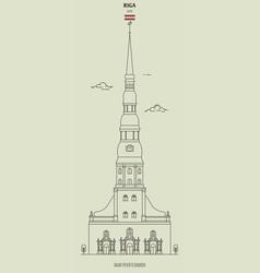 saint peters church in riga latvia vector image