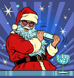 santa claus makes christmas cocktail with ice vector image
