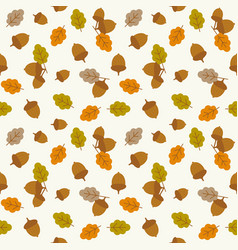 seamless pattern acorn and leaves vector image
