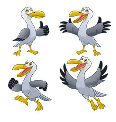 set happy cartoon seagull character vector image