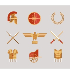 Set of ancient warrior accessories vector image vector image