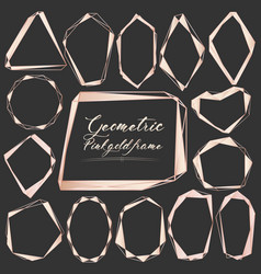 Set of geometric gold frame decorative element vector