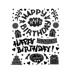 Set of Happy Birthday Hand Drawn Calligraphy Pen vector