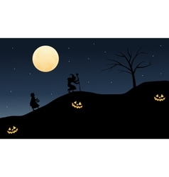 Silhouette of witch and little girl halloween vector
