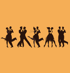 Silhouettes of five couples wearing clothes in vector
