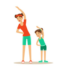 Smiling woman and girl doing fitness exercises vector