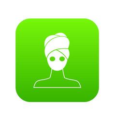 spa facial clay mask icon digital green vector image