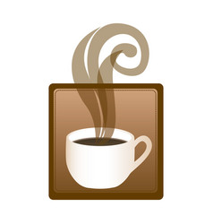 square emblem with hot cup of coffee vector image