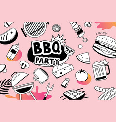 summer bbq doodles symbol and objects icon for vector image