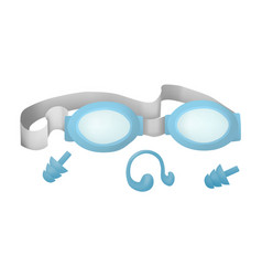 Swimming goggles and earplugs vector