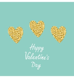 Three gold glitter heart Sun shining effect Flat vector