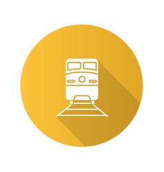 train flat design long shadow glyph icon vector image
