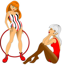 two gymnasts vector image