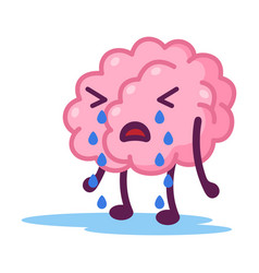 Unhappy pink brain crying funny human nervous vector