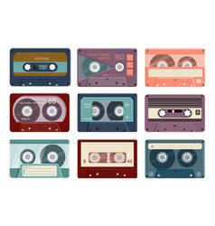vintage analogue audio tape cassette icon set vector image