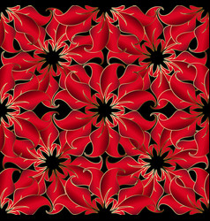 vintage red 3d flowers seamless pattern vector image