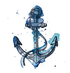 Watercolor and ink of an anchor vector