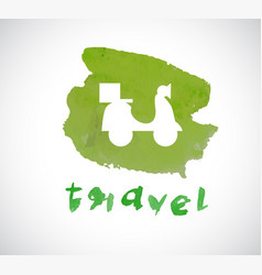 watercolor style design with travel icon on vector image