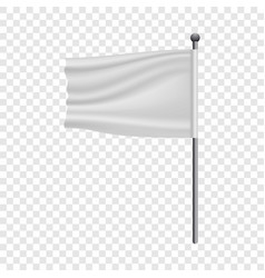 White flag on flagpole mockup realistic style vector