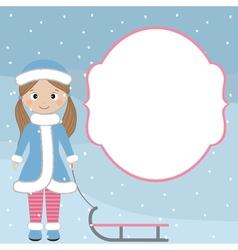 Winter girl card vector