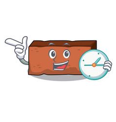 with clock brick character cartoon style vector image