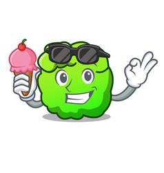 With ice cream shrub character cartoon style vector
