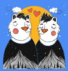 With kissing cartoon couple bears with moutain vector