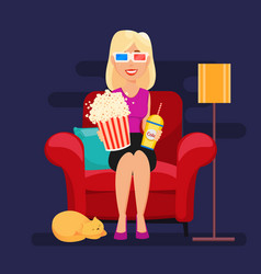 Woman at home sitting on comfortable armchair and vector