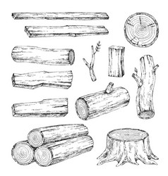 Wood burning materials sketch vector